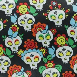Print polyester satin fabric - black Calavera x 50cm