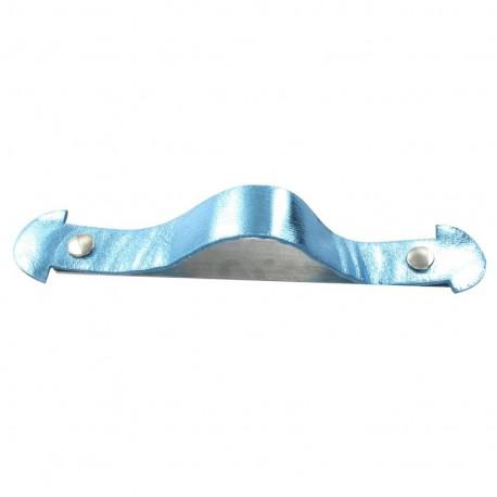 Poignée de cartable en cuir métallisé bleu