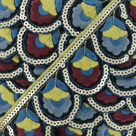 Ruban Galon Bohemian Chic 50 mm - Bleu x 50cm