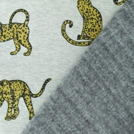 Tissu sweat envers minkee Léopard - gris x 10cm