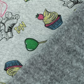 Sweatshirt fabric with minkee reverse - Grey Roller Skate x 10cm