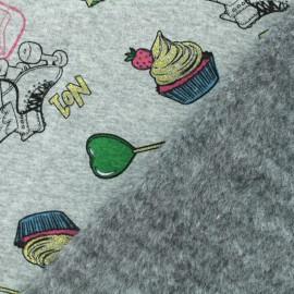 Tissu sweat envers minkee Roller Skate - gris x 10cm