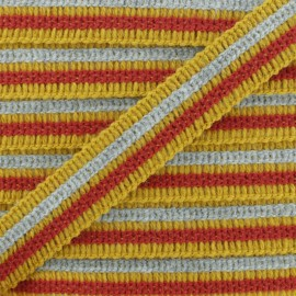 20 mm Striped Woolen Aspect Trim - Mustard x 1m
