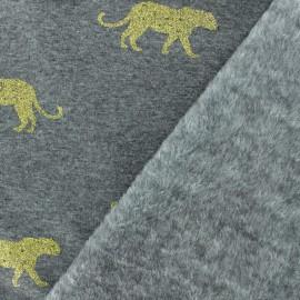 Tissu sweat envers minkee Panthère dorée - gris foncé x 10cm
