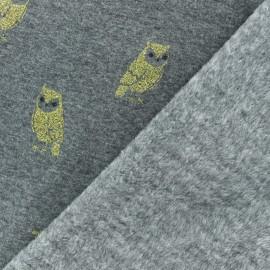 Tissu sweat envers minkee Chouette dorée - gris foncé x 10cm