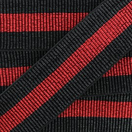 40 mm Lurex Elastic Ribbon - Black/Red Réveillon x 50cm