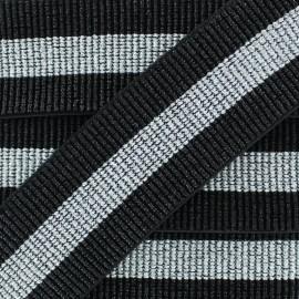 Ruban Élastique Lurex Réveillon 40 mm - Noir/Argent x 50cm