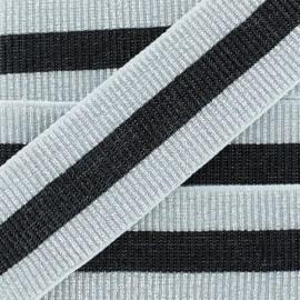 Ruban Élastique Ceinture Réveillon 40 mm - Argent/Noir x 50cm