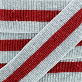 40 mm Belt Elastic Ribbon - Silver/Red Réveillon x 50cm