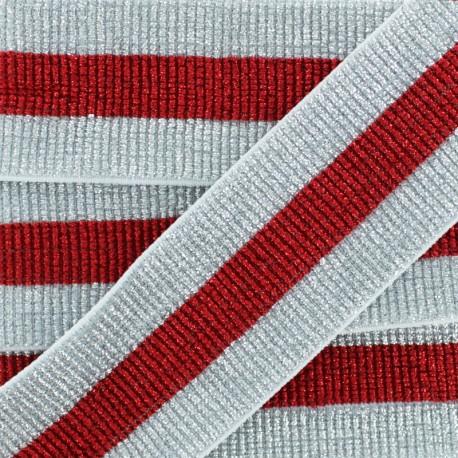 40 mm Belt Elastic Ribbon - Silver/Red Réveillon x 50cm