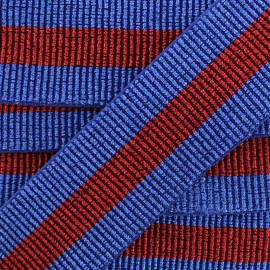 40 mm Belt Elastic Ribbon - Blue/Red Réveillon x 50cm