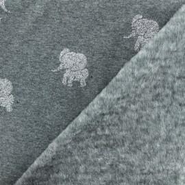 Tissu sweat envers minkee Elephant argent - gris foncé x 10cm