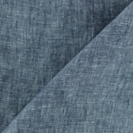 100% linen Chambray fabric - Navy blue x 10cm