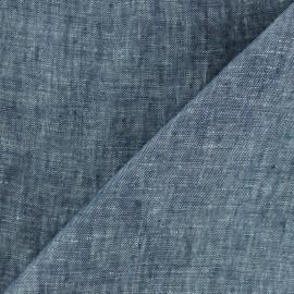 Tissu chambray 100% lin - bleu marine x 10cm