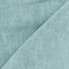 Tissu chambray 100% lin - vert mint x 10cm