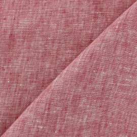 Tissu chambray 100% lin - rouge x 10cm