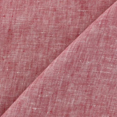 100% linen Chambray fabric - red x 10cm