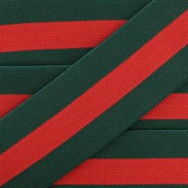 40 mm Belt Elastic Ribbon - Green/Red Emilio x 1m