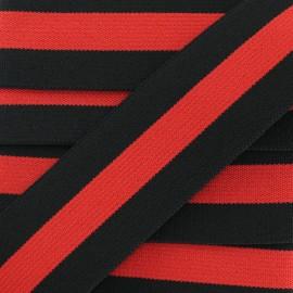 40 mm Belt Elastic Ribbon - Black/Red Emilio x 1m