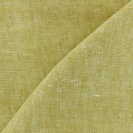 Tissu chambray 100% lin - jaune moutarde x 10cm