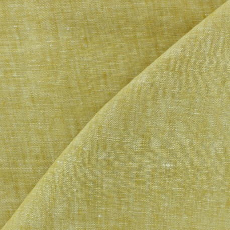 100% linen Chambray fabric - Ochre x 10cm
