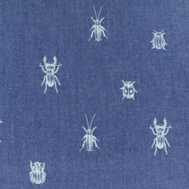 Light Chambray denim fabric - blue Bugs and beetles x 10cm
