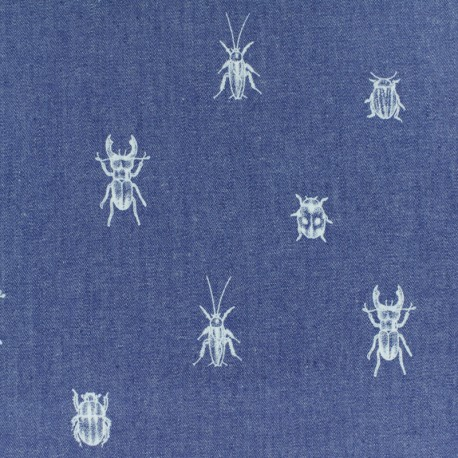 Tissu Jeans fluide Chambray Bugs and beetles - bleu x 10cm