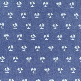 Tissu Jeans fluide Chambray Palmier - bleu x 10cm