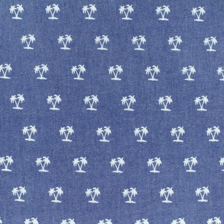 Light Chambray denim fabric - blue Bugs and beetles x 10cm