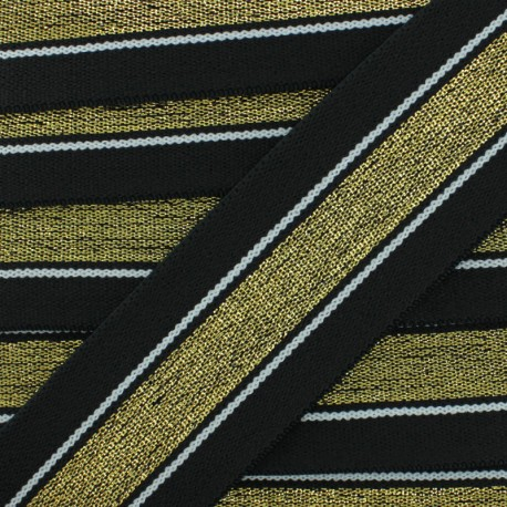40 mm Belt Elastic Ribbon - Black Just Dance x 1m
