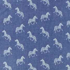 Light Chambray denim fabric - blue Palmtree x 10cm