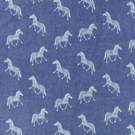 Light Chambray denim fabric - blue zebra x 10cm
