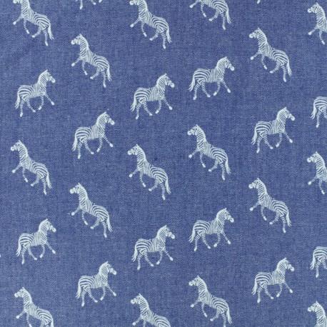 Tissu Jeans fluide Chambray Zèbre - bleu x 10cm