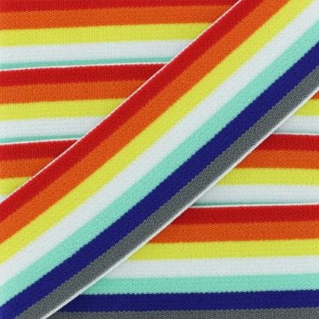 40 mm Belt Elastic Ribbon - Multi Retro Rainbow x 1m