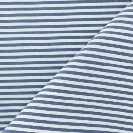 Tissu popelinecotonpolyamide rayé - bleu marine x 10cm
