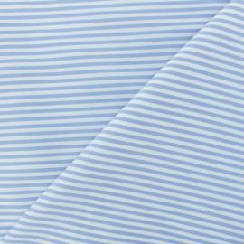 Tissu popelinecotonpolyamide rayé - bleu ciel x 10cm
