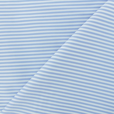 Striped Cotton and Polyamid Poplin fabric - Sky blue x 10cm