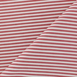 Striped Cotton and Polyamid Poplin fabric - red x 10cm