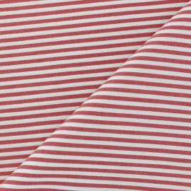 Tissu popelinecotonpolyamide rayé - Rouge x 10cm