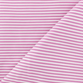 Striped Cotton and Polyamid Poplin fabric - pink x 10cm