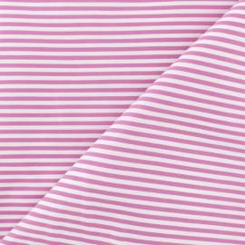 Tissu popelinecotonpolyamide rayé - Rose x 10cm