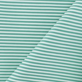 Striped Cotton and Polyamid Poplin fabric - green x 10cm