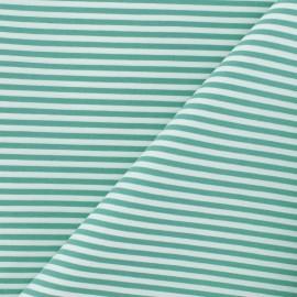 Tissu popelinecotonpolyamide rayé - vert x 10cm