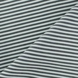 Tissu popelinecotonpolyamide rayé - noir x 10cm