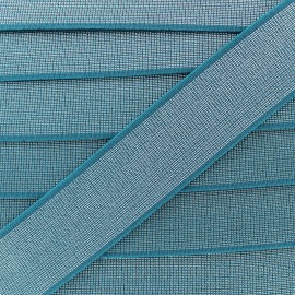 40 mm Belt Elastic Ribbon - Peacock Blue Shine Glam' x 1m