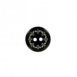 Polyester Button - Black Oka
