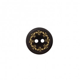 Polyester Button - Black/Gold Oka