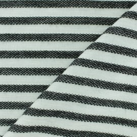 Lurex knitted Fabric Stripes - ecru/blue x 10cm