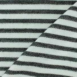 Tissu Maille Lurex Stripes - ecru/bleu x 10cm