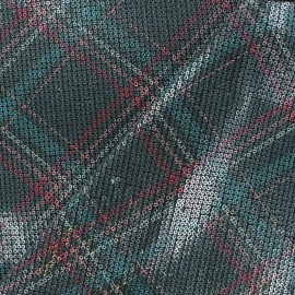 Sewn sequin Fabric - Green Scottish tartan x 10cm